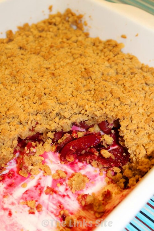 This Plum Crumble Recipe is awesome with its tangy plums and crunchy crumble topping!